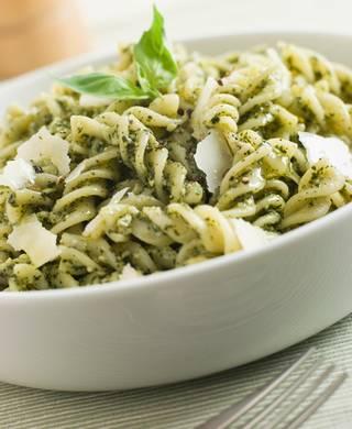 Fusilli pasta with basil pesto and parmesan