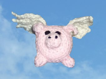 crocheted flying pig
