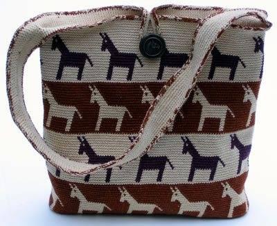tapestry crochet horse motif purse