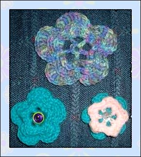 three flowers from one crochet pattern