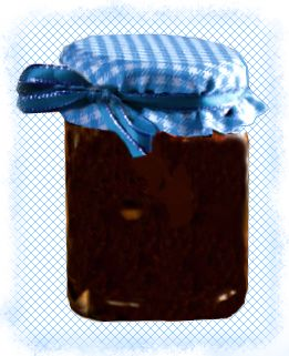 homemade chocolate sauce in a gingham topped jar