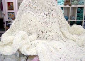 baby feather fan knitted blanket