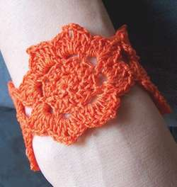 crocheted lotus flower cuff or bracelet