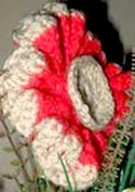 side view of crocheted poppy