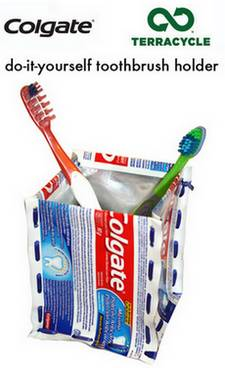 toothbrush holder made from recycled toothpaste tubes
