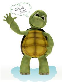 "cartoon turtle waving and saying ""Good Job"""