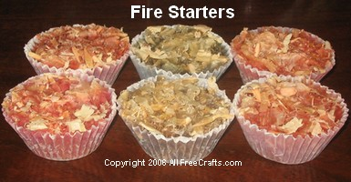 recycled wax fire starters in paper cups