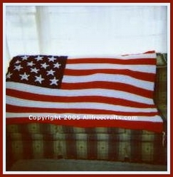 crocheted American flag afghan