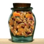 jar of homemade fruit and nut granola