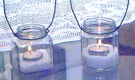 recycled jam jar candles