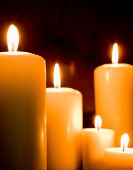 lit pillar candles