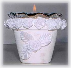 white rose pot candle holder