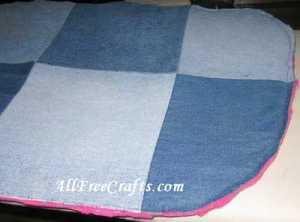 fleece lining sewn to denim
