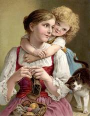 mother knitting with a child