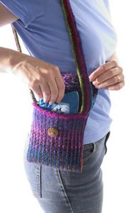 knitted mosaic shoulder bag