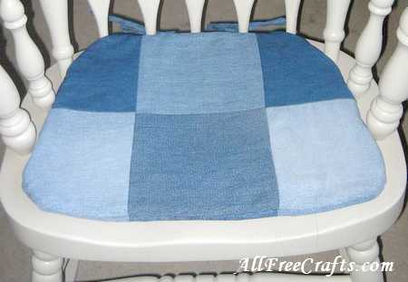 close up of patchwork denim chair pad