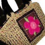 knitted straw bag