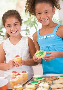 two girls baking