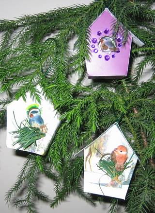 recycled Christmas card bird houses