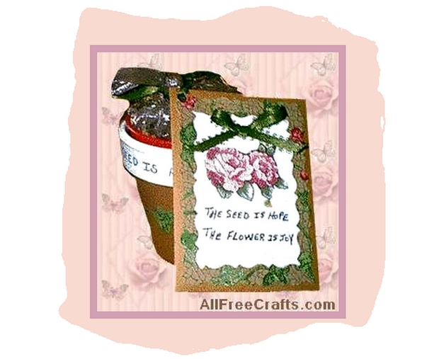 brown paper seed packet and painted pot