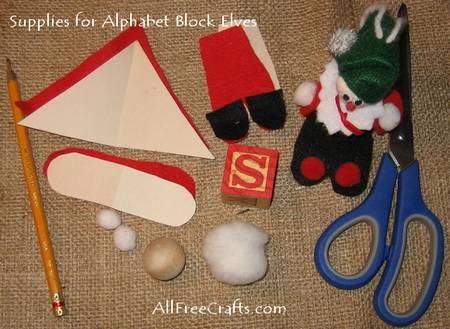 supplies for alphabet block elves