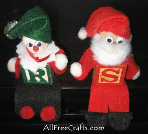 alphabet block elves on a shelf