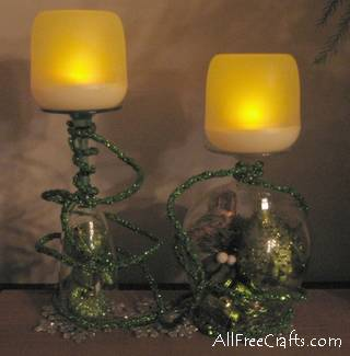 glitter rope wine glasses candle holders