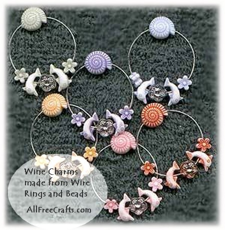 Simple Homemade Wine Glass Charms using Wire Rings and Beads