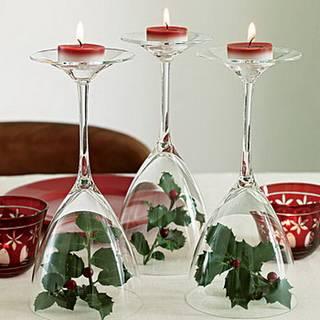 simple wine glass tea lights