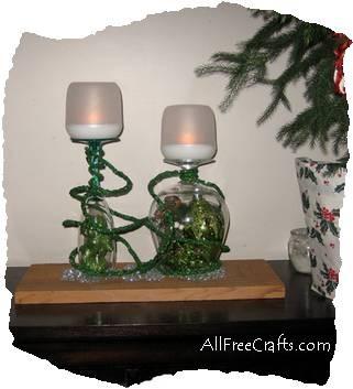 wine glass Christmas candle display
