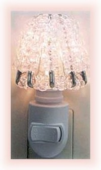 crystal night light shade made from safety pins and crystal beads