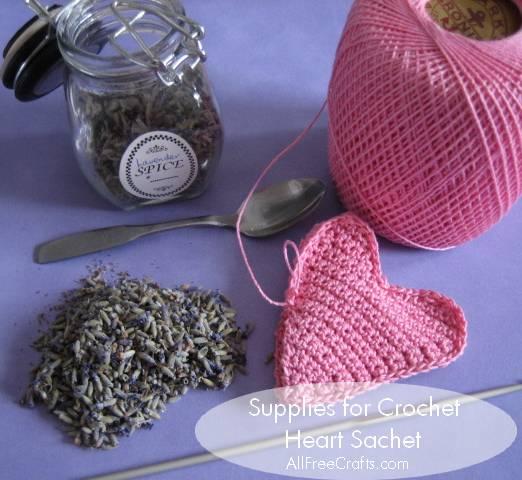 lavender crochet heart sachet - supplies