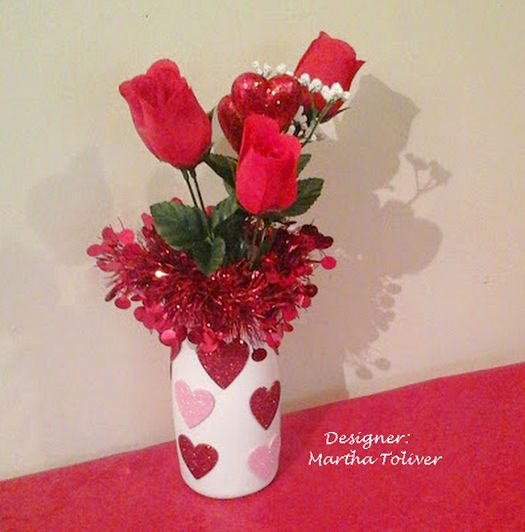Valentine bouquet in a recycled coffee creamer vase