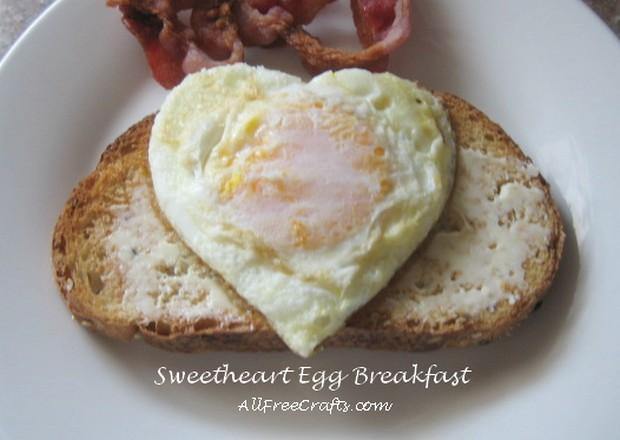 heart shaped fried egg on toast