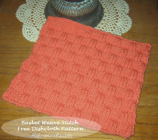 Basket Weave Knitted Dishcloth