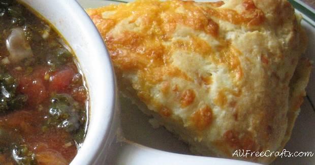 potato and cheese scone alongside soup
