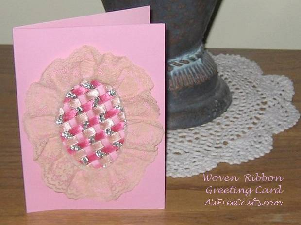 woven ribbon card on display