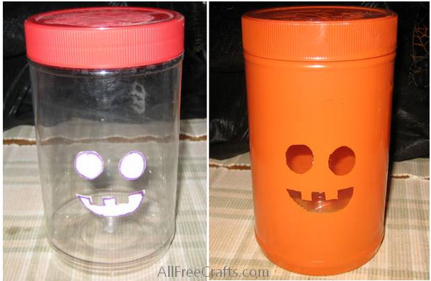 adding jack o'lantern features to a recycled jar