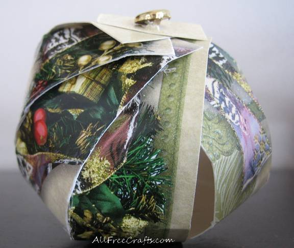 ball shaped recycled card ornament
