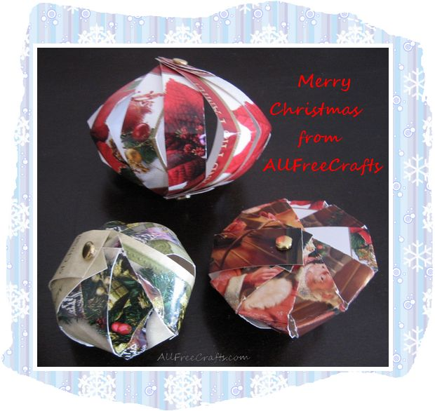 Christmas ornaments made from Christmas card strips