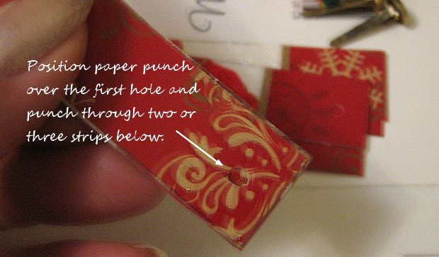 punch a hole at either end of each card strip