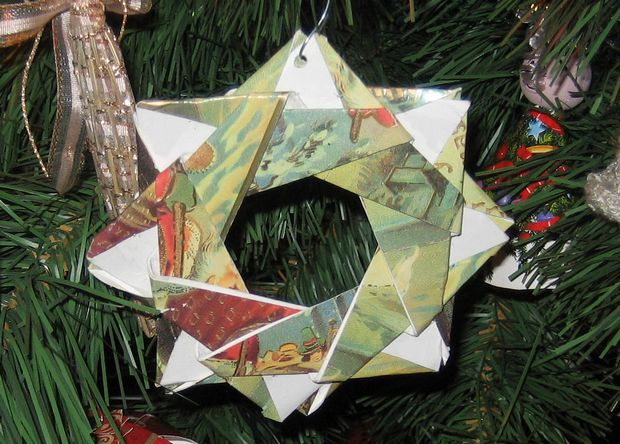 origami christmas card star