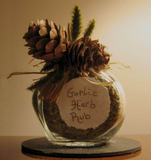 glass jar of homemade garlic herb rub