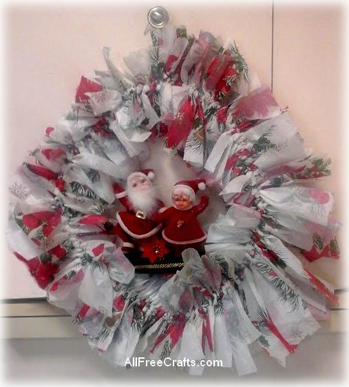 plastic tablecloth and coat hanger wreath