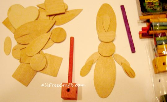 miniature wooden parts to make a toy soldier