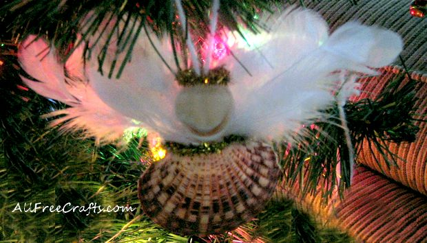 homemade seashell angel