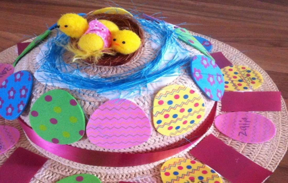 girl's Easter bonnet with egg stickers