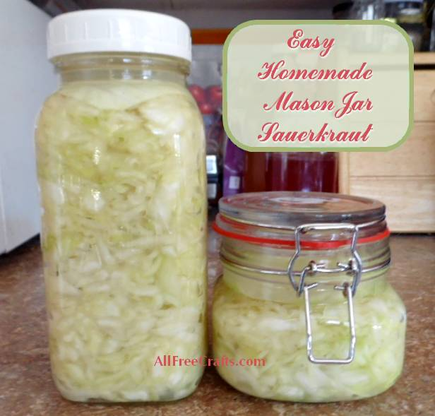 two mason jars of easy homemade sauerkraut