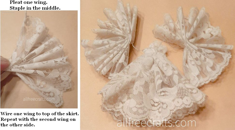 Pleated lace wing and next step in attaching wings to angel dress.