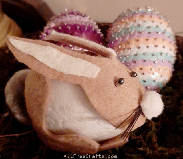 felt easter bunny with sequinned eggs